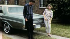 Texans People and 65 Buick Deluxe CLASSIC CAR Vintage Film Home Movie 4867 Stock Footage