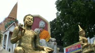 Buddhas Statues In Front Of Temple Stock Footage