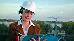 Female construction engineer Stock Footage