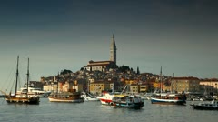 Old European town at adriatic sea - stock footage