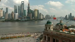 The Bund View from peace hotel Stock Footage