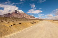 Chimborazo National Park Road To The Refugee Situated At 5000M Altitude Stock Photos