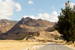 Pan America Highway At High Altitude In Ecuadorian Andes Stock Photos