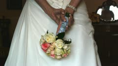 wedding dress and bouquet - stock footage