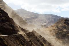 Stock Photo of Road Building In Ecuadorian Andes At High Altitude Horizontal