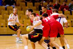 Rijeka, croatia - oct, 13: handball match (first croatian handbal league) bet Stock Photos