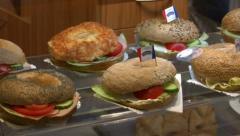 10738 german bakery fresh sanwiches pan ED Stock Footage