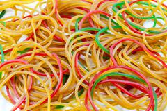 a pile of rubber bands - stock photo