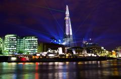 Shard Laser Light Show in London Stock Photos