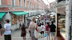 Busy shop street in Venice Italy Stock Footage
