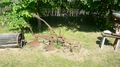 Historical agriculture tools collection in farm Stock Footage