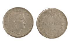 Old romanian monet hundred lei. Stock Photos