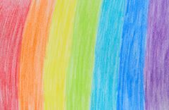 Rainbow crayon drawing Stock Illustration