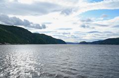 Fjords in evening sunlight - stock photo