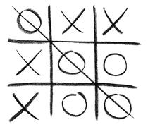 Hand-drawn tic-tac-toe game - stock illustration