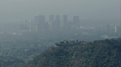 Smoggy City aerial  2 Stock Footage