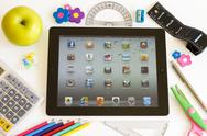 Stock Photo of ipad 3 with school accesories