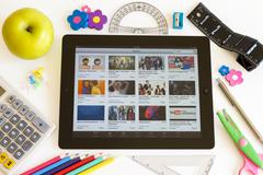 ipad 3 with school accesories - stock photo
