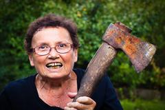 Crazy senior woman Stock Photos