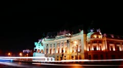 Central University Library of Bucharest, time lapse night view Stock Footage