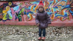 Happy child jumping Stock Footage