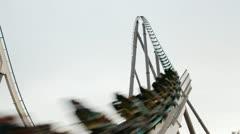 Roller coaster Shambhala in Port Aventura, Spain Stock Footage