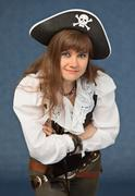 woman in costume pirate - stock photo
