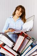 Female accountant and financial documentation Stock Photos