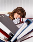 Woman secretary are overworked Stock Photos