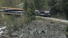 Rocky Mountaineer Fraser CU follow engine Stock Footage