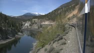 Stock Video Footage of Rocky Mountaineer, avalanche alley, tunnel, Thompson River