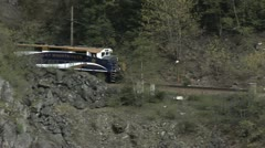 Rocky Mountaineer Follow Pan Fraser MS pull out Stock Footage