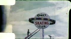 Roller SKATING RINK Sign Installation 1960s Vintage Retro Film Home Movie 4909 Stock Footage