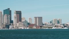 Panning Shot Boston Skyline From Across The Harbor Stock Footage