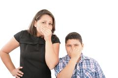 Covering them nose after a bad smell Stock Photos