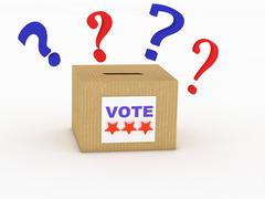 Voter in the voting booth. voting in a democracy Stock Illustration