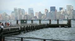 NYC Skyline Pier - stock footage