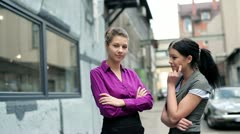 Portrait of two smiling businesswomen on coffee break, outdoors Stock Footage