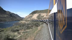 Rocky Mountaineer Thompson river turn POV on board Stock Footage
