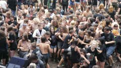 Young people dance punk at open-air concert 2 Stock Footage