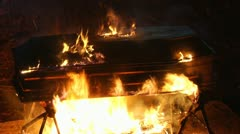 Coffin on fire 04 Stock Footage