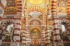 Cathedral Notre Dame de la garde in Marseille, France - stock photo