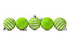 Five christmas decoration ball on a white background with space for text Stock Photos