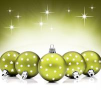 Green christmas bauble ornaments - stock photo