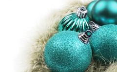 Blue christmas ornaments - stock photo
