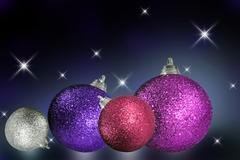 close up of colorful christmas baubles - stock photo