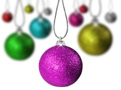 Colorful red green and other  christmas baubles balls with colorful backgroun Stock Photos