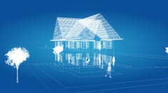 freeze over a house in wireframe - stock footage