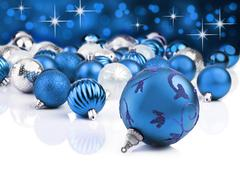 Blue decorative christmas ornaments with star background Stock Photos
