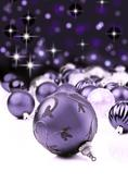 Purple decorative christmas ornaments with star background Stock Photos